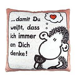 """Sheepworld 42389 kleines Plüsch-Kissen mit Spruch """"An dich denke"""", 25 cm x 25 cm Zierkissen, Rosa"""