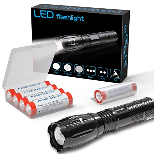 Handheld Flashlight Super Bright LED Tactical Flashlight Zoomable Lamp Torch -with 4x18650...