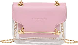 Wultia - Fashion Women Brand Design Small Square Shoulder Bag Clear Transparent PU Composite Messenger Bags New Female Handbags 6.99#M07 Pink