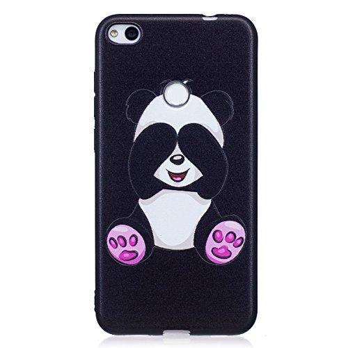 ISAKEN Compatibile con Huawei P8 Lite 2017 Custodia (No Strap) - Ultra Sottile Morbido TPU Cover Protezione Posteriore Case Antiurto Nero Bumper Caso Soft Sollievo TPU Backcover, Panda