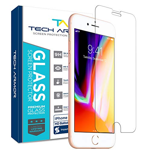 Tech Armor Premium Ballistic Tempered Glass Screen Protector for Apple iPhone 6, 6s, iPhone 7, iPhone 8 - with 99.99% HD Clarity and 3D Touch Accuracy, Clear [1-Pack]
