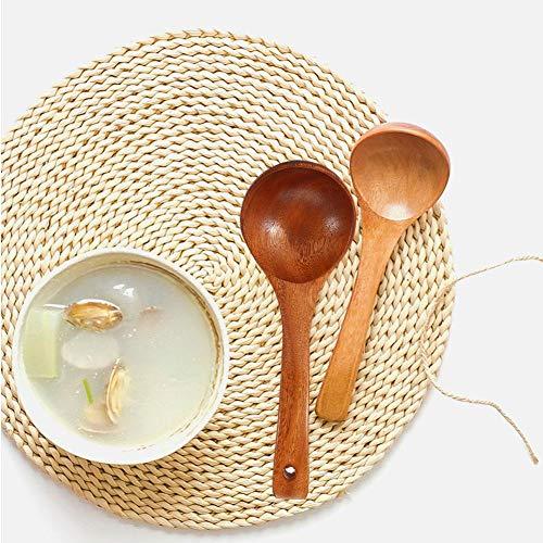 Louche en bois, cuillère de cuisson, résistant à la température à long manche pour restaurant Louches à soupe Louches de cuisine pour la(Brown perforated spoon)