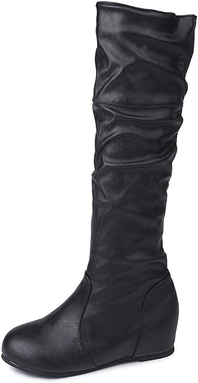 Boots Women's, Solid color Pleated High Tube Warm