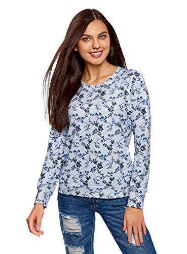 oodji Ultra Damen Bedrucktes Sweatshirt mit Rundem Ausschnitt, Grau, DE 36 / EU 38 / S