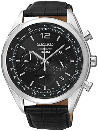 Seiko SSB097 Mens Watch Chronograph Stainless Steel Case Black Leather Strap