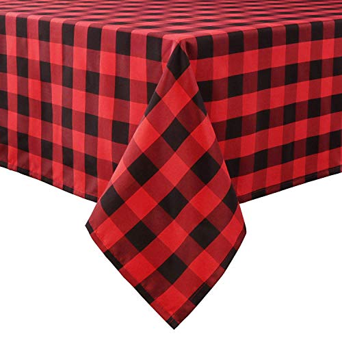 LEEVAN Buffalo Plaid Tablecloth Checkered Gingham Table Cloth Rectangle Spill-Proof,Washable Polyester Table Cover for Kitchen Dinner Farmhouse Tablecloths,60 x 102 Inch