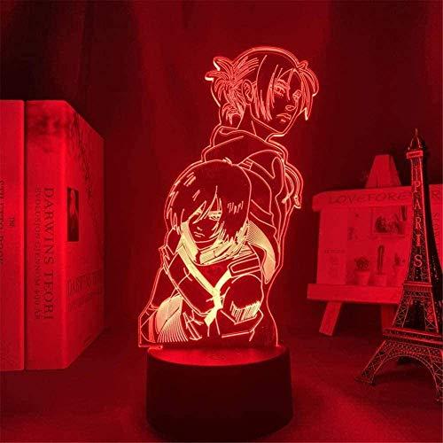 Lámpara de ilusión 3D, luz nocturna 3D, ataque a Titans, luz nocturna para niños, Annie Leonhart Mikasa, lámpara de mesa con mando a distancia USB decorativo para niños y niñas, regalos de cumpleaños