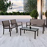 <span class='highlight'>Garden</span> <span class='highlight'>Furniture</span> <span class='highlight'>set</span> 4 <span class='highlight'>Seater</span>, 4 Pieces Patio <span class='highlight'>Furniture</span> <span class='highlight'>Set</span> Glass Table with 3 Sofa Chairs for Patio Outdoor Conservatory Indoor (2 Armchairs   1 Double Sofa Chair   1 Glass Coffee Table) (Brown)