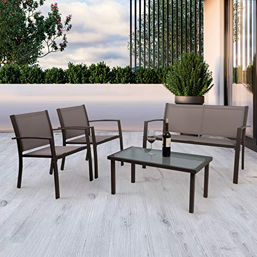 Garden Furniture set 4 Seater, 4 Pieces Patio Furniture Set Glass Table with 3 Sofa Chairs for Patio Outdoor Conservatory Indoor (2 Armchairs + 1 Double Sofa Chair + 1 Glass Coffee Table) (Brown)