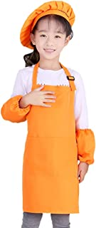 Kids Apron and Chef Hat Set, 6-9 Year Children's Adjustable Bib Aprons with 2 Pockets for Cooking, Baking, Painting CF3013...