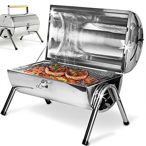 Deuba | Barbecue portable • double plaque • acier inoxydable • poignée ventilation | Cuisson, BBQ, grillades, jardin
