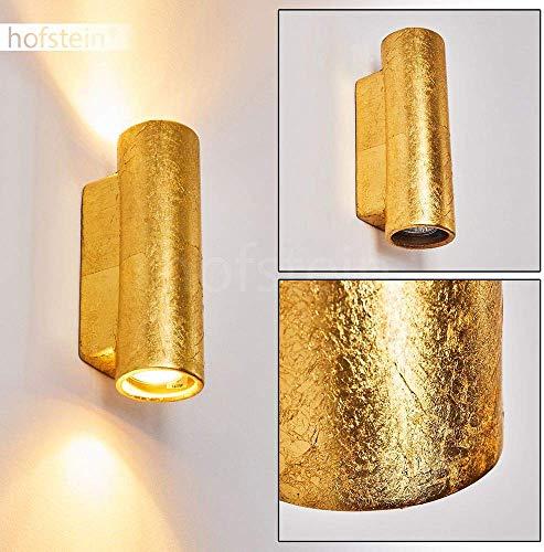 Wandlamp Nuovodi van keramiek in goud, wandlamp met op & neer effect, 2 x GU10 fitting, max. 50 Watt, binnenwerklamp met bladgoudeffect, geschikt voor LED-lampen
