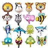 Feelairy 16-Pack Globo de Papel de Aluminio Animales Marinos Animales de Bosque Globos Cabeza de Animal Reutilizable Globo de Papel de Helio para niños Decoraciones de Fiesta de cumpleaños Juguetes