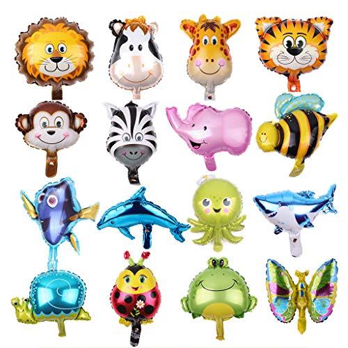 Feelairy 16-Pack Folienballon Tiere Meerestiere Waldtiere Ballons Wiederverwendbare Tierkopf Helium Folie Luftballon für Kinder Geburtstag Party Dekorationen Spielzeug