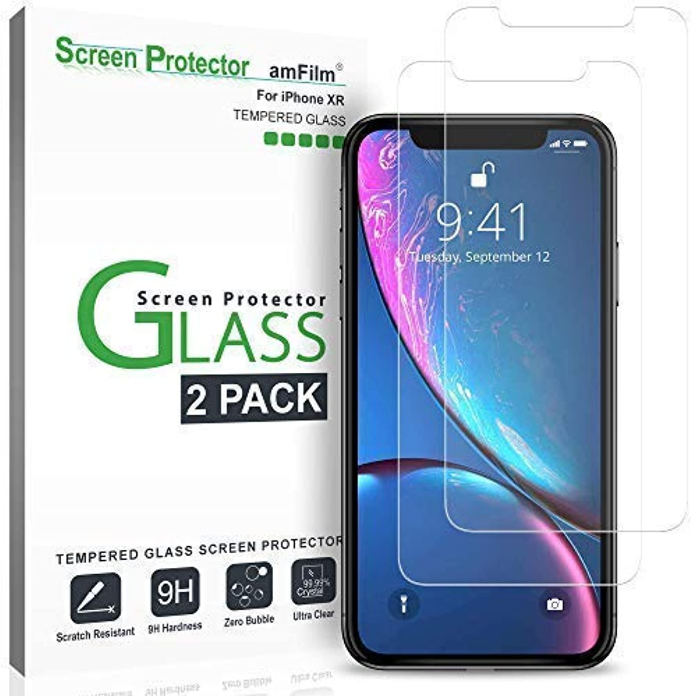 iPhone XR Screen Protector Glass (2-Pack), amFilm iPhone XR 6.1 Tempered Glass Screen Protector with Easy Installation Tray for Apple iPhone XR (6.1