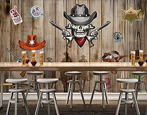 Western Cowboy Plank Effect Retro Skull for Walls Murals Wallpaper Custom 3D Wallpaper Paste Living Room The Wall for Bedroom Mural border-350cm×256cm