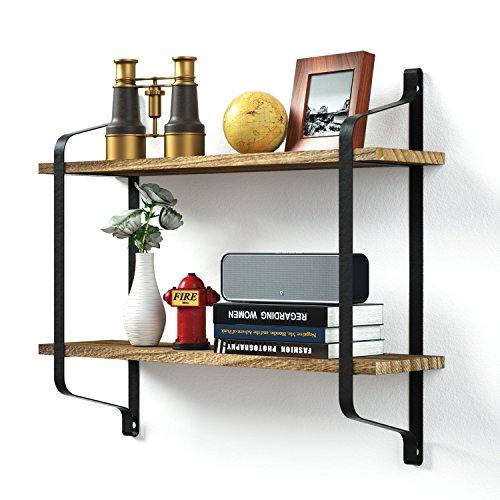 Love-KANKEI® Schweberegal Wandregal mit 2 U-Form Ablagen aus Holz, Metall-Rahmen, Wandboard in Verkohlungsaussehen (MEHRWEG)