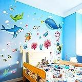 Pegatinas de pared de acuario para habitación de niños, fondo marino, decoración del hogar, vinilo submarino, calcomanía para habitación de niños, decoración de guardería para bebés