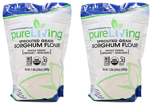 Pure Living Liv Organic SPROUTED Sorghum Flour - 24 oz - PureLiving (Pack of 2) - Delicately sweet and nutrient-rich!