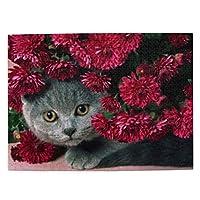 猫と赤の花 大人と子供のための木製ジグソーパズル500ピース、クリエイティブギフトの家の装飾のためのアートワークジグソーパズルおもちゃ