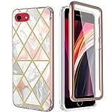 Anfire Funda para iPhone SE 2020, funda 2 en 1, funda de silicona con protector de pantalla integrado, 360 grados, carcasa de mármol, resistente a los golpes, para iPhone 8/iPhone 7, oro rosa