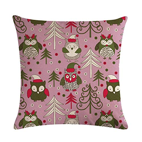 Janly Clearance Sale Christmas Printed Peach Skin Pillowcase Cushion Cover 1PC, Pillow Case for Xmas 2020 Decoration (D)