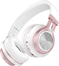Baseman Wireless Bluetooth Headphones with Mic, Wired and Wirelss Mode, Over Ear Lightweight Foldable Headphone, Hi-Fi Stereo Deep Bass Earphones for Kids Girls Women Learn Travel Work (Rose Gold)