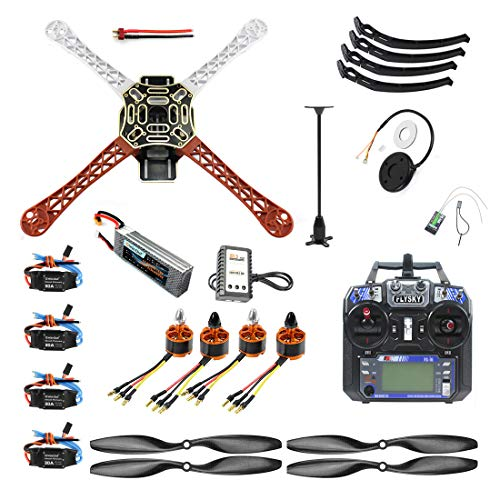 QWinOut DIY FPV Drone Quadcopter 4-axle Aircraft Kit: F450 Frame + PXI PX4 Flight Control + 920KV Motor + GPS + FS-i6 Transmitter + Battery