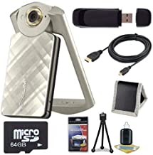6Ave Casio EX-TR50 Self Portrait/Selfie Digital Camera (Gold) + 64GB microSD Class 10 Memory Card + Micro HDMI Cable + SD Card USB Reader + Memory Card Wallet + Deluxe Starter Kit Bundle
