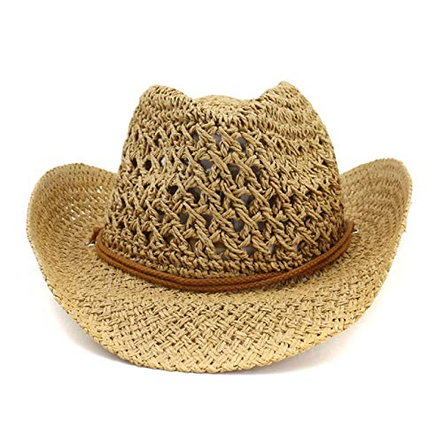 LUOLUOSM Straw Hat Natural Straw Cowboy Hat Women Men Handmade Weave Hats For Tassel Summer Beach Hat Men Cowboy Hats