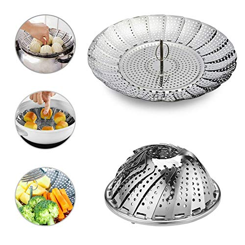RIANZ Stainless Steel Folding Steamer for Good Grips Steamer Kitchen Tools with Rotating Handle