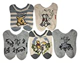 Winnie the Pooh Women's 5 Pack No Show, Blue White Multi, Fits Sock Size 9-11 Fits Shoe Size 4-9