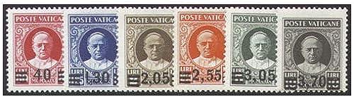 Goldhahn Vatikan Nr. 39-44 postfrisch  Freimarken mit Aufdruck 1934  geprüft Briefmarken für Sammler