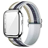 Qeei Mujer Stretchable Pattern Nylon Strap Compatible con Apple Watch 44mm Series 6 SE 5 4, Incluir 9H Duro Funda Protector Cubierto por Vidrio Templado (Plata), Casual Plata (Glistening)