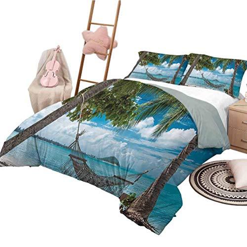 Beach Hammock Decor Collection Duvet Cover Set Palm Trees Romantic Resort Tropical Weather Cloudy Summer Sky Print Duvet Cover Set & Pillowcase Twin Size