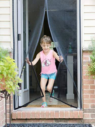 Fenestrelle Magnetic Screen Door - 39'W x 82'H, Black Trim. Fits Doors...