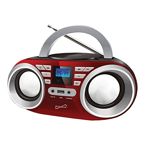 Supersonic Red Portable Audio System MP3/CD Player