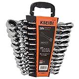 KSEIBI 123975 24 Piece Ratcheting Combination Wrench Set - Chrome Vanadium Steel Ratchet Wrenches Kit with Storage Keeper SAE & Metric