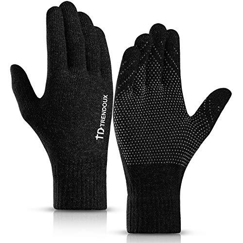 Handschuhe, TRENDOUX Fahrradhandschuhe Herren Damen 360° Touchscreen Für Handy Winterhandschuhe - Rutschfester Griff - Wollegefüttert - Dehnbares Material - Thermohandschuhe Für Autofahren - Schwarz M