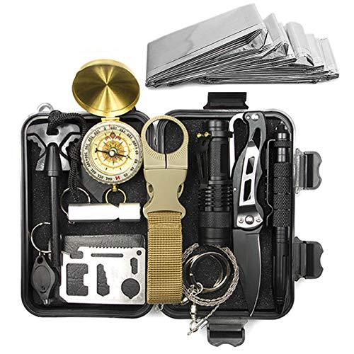 Shine-Tool 13 in 1 Outdoor Emergency Survival Kit with Military Compass, Saber Card, Whistle,...