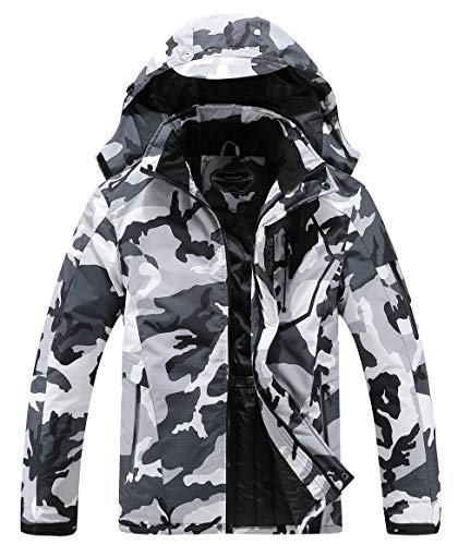 Little Donkey Andy Men's Waterproof Ski Snowboarding Jacket Lightweight Warm Winter Coat with Ski Face Cover Black Heather M