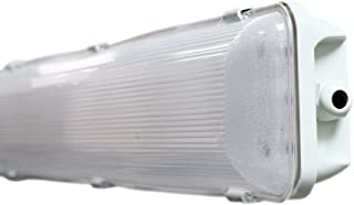 36W Commercial Outdoor Integrated 2 Ft. Vapor Tight Water Resistant Anti-Fogging LED Fixture - Choose Between Hardwired, Plugin, Wireless Remote Control - 6500K - 3,600 Lumen (Hardwired)