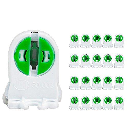 T5 Soporte para lámpara de tubo fluorescente LED con forma de tombstone, enchufe bi-pin mediano, portalámparas fluorescente, de repuesto de portalámparas de tipo giratorio, paquete de 20