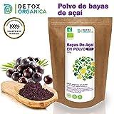 Bayas De Acai En Polvo Orgánico 100 g – Bayas Acai Congelado BIO (Freeze – Dried/Liofilizadas) – Acai Berry Extracto Crudo De La Pulpa – Acai Organico Cultivado en Brasil De Detox Organica