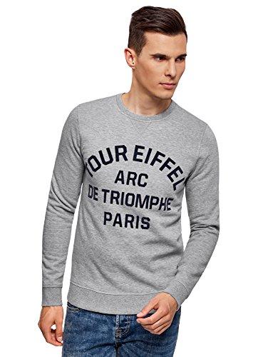 oodji Ultra Herren Sweatshirt mit Pflockdruck, Grau, DE 50 / M