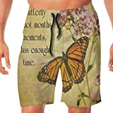 AZXGGV Funny Swim Trunks Men's Beach Pants Vintage Butterfly Floral Quote Quick Dry Beachwear Casual Athletic Water Pants,Breathable Quick-Drying Swim Trunks Beach Shorts Board Shorts M