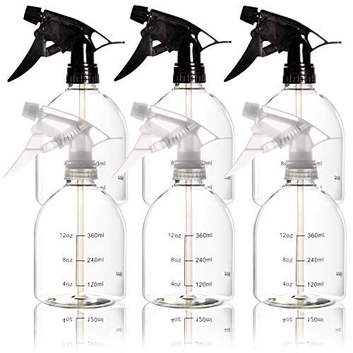 Youngever 6 Pack Empty Plastic Spray Bottles, Spray Bottles for Hair and Cleaning Solutions, 6 Pack 16 Ounce Bottles (3 Clear and 3 Black)