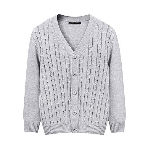 【2020年秋冬】セーター メンズ カーディガン ニット ケーブル編み ボタン カジュアル/ビジネス(L-グレー)