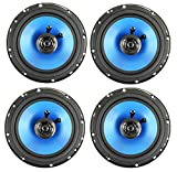QPower 6.5' 300W 2-Way Blue Car Audio Stereo Coaxial Speaker Set, 4pk | QP650