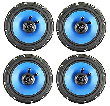 QPower 6.5  300W 2-Way Blue Car Audio Stereo Coaxial Speaker Set 4pk   QP650